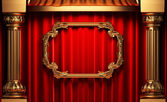 Red curtains, gold columns and frame — Stock Photo