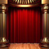 Red velvet curtains behind the gold — Foto Stock