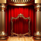 Red curtains, gold columns and frame — Foto Stock