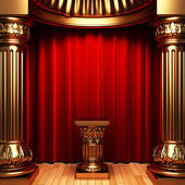 Red velvet curtains, gold columns — Foto Stock