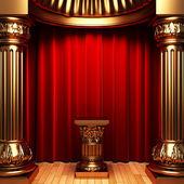 Red velvet curtains, gold columns — Stock Photo