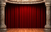 Red velvet curtains behind the stone — Stock Photo