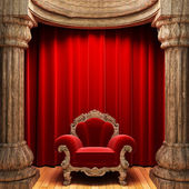 Red velvet curtains, wood columns — Stock Photo
