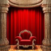Red velvet curtains, wood columns — Stock Photo