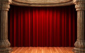 Red velvet curtains behind the old wood — Stock Photo