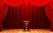 Red velvet curtain and Pedestal — Stock Photo