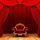 Red velvet curtain and chair — Stock Photo