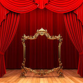 Red curtains, gold frame — Stock Photo