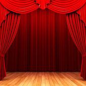 Röd sammet draperi öppningsscenen — Stockfoto