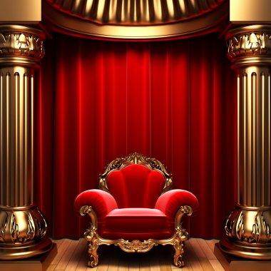 Red velvet curtains, gold columns