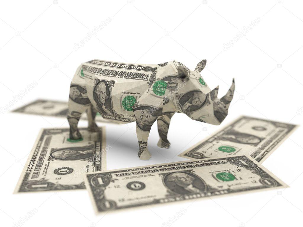 depositphotos 1620984 Dollar origami rhino