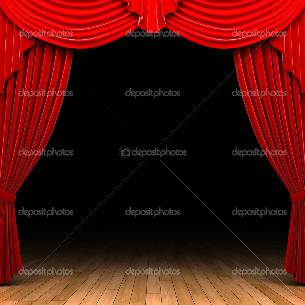 Red velvet curtain opening scene made in 3d — Stock Photo #1623380