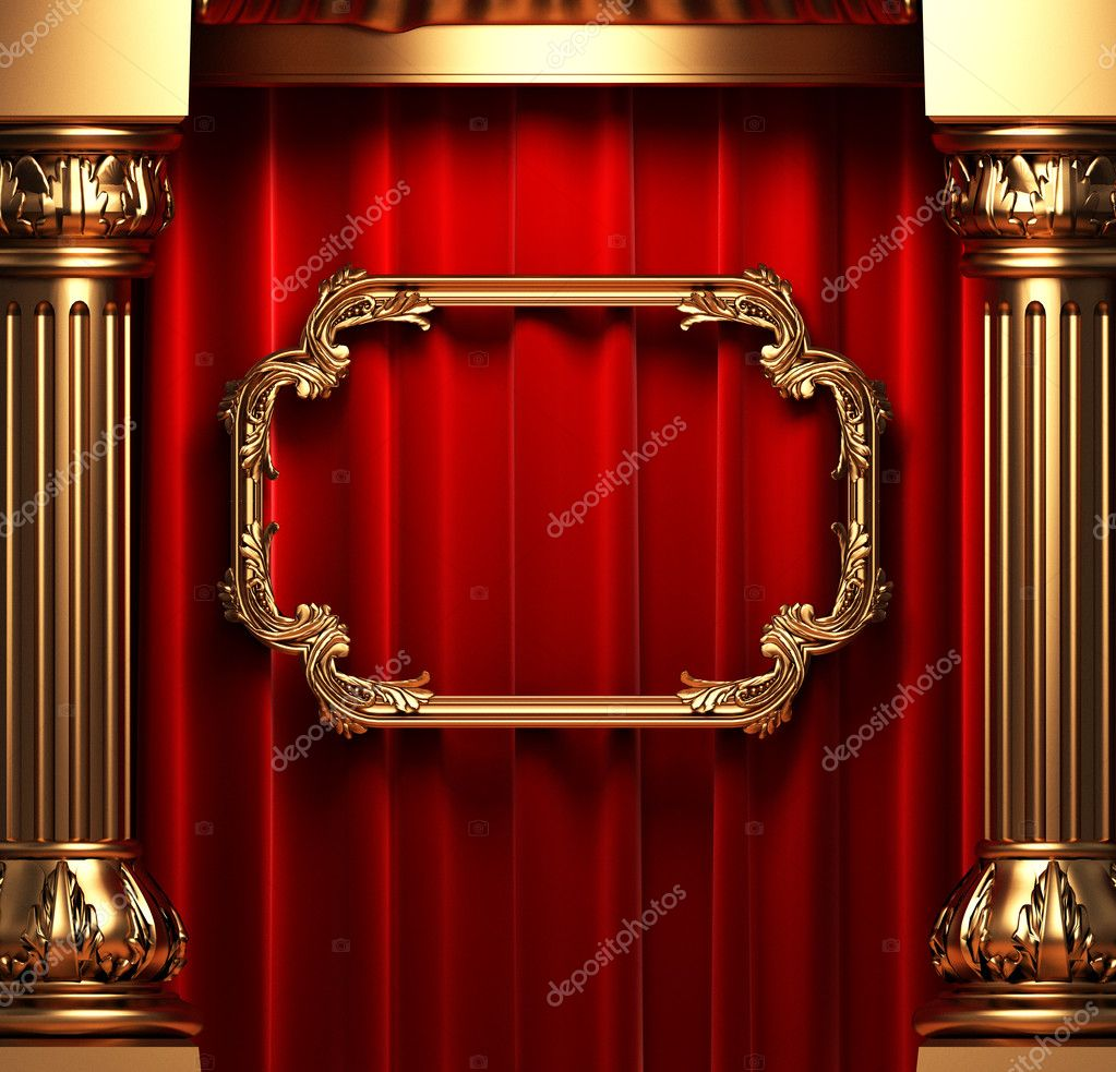 Red curtains, gold columns and frame made in 3d — Stock Photo #1623551