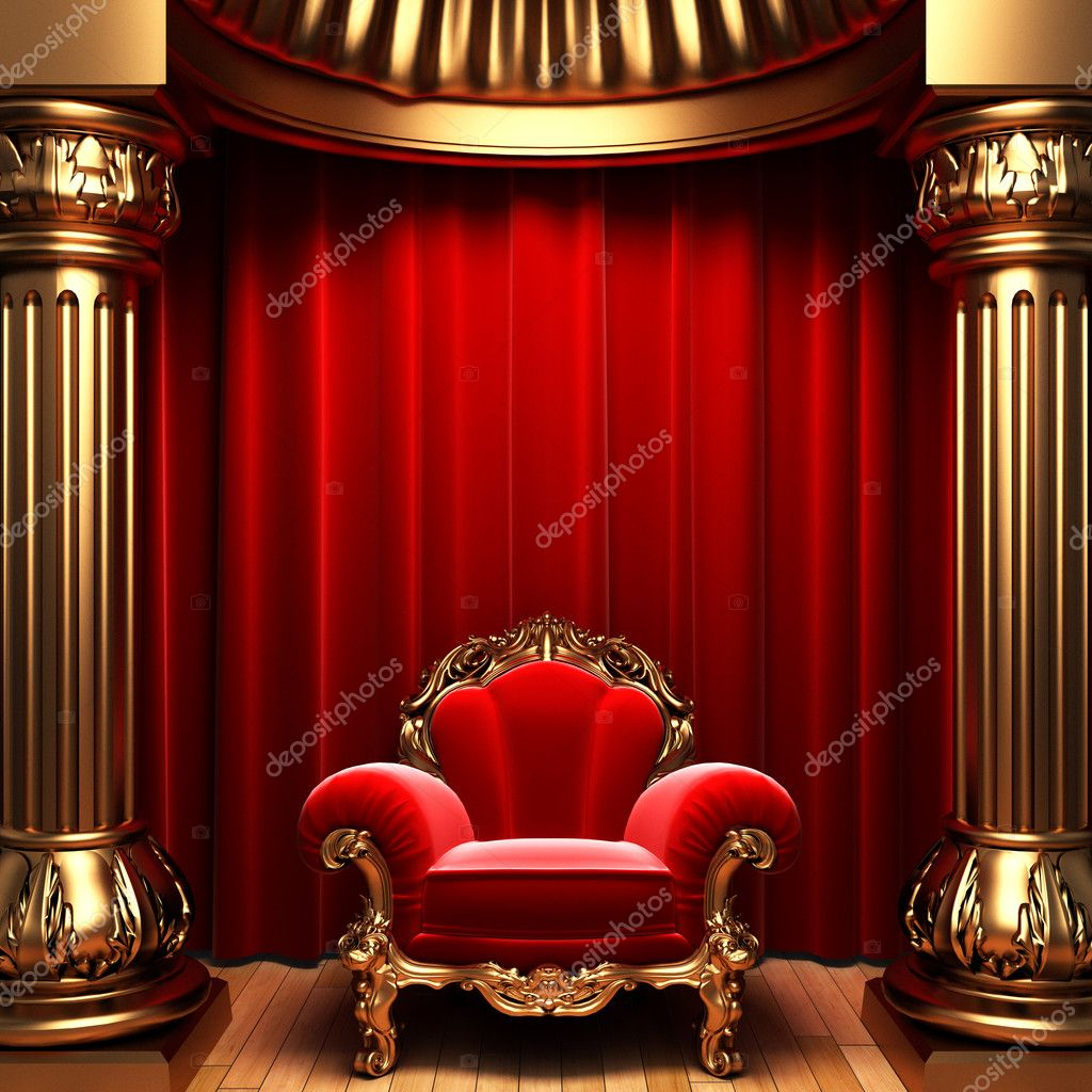 Red velvet curtains, gold columns and chair made in 3d — Stok fotoğraf #1623561