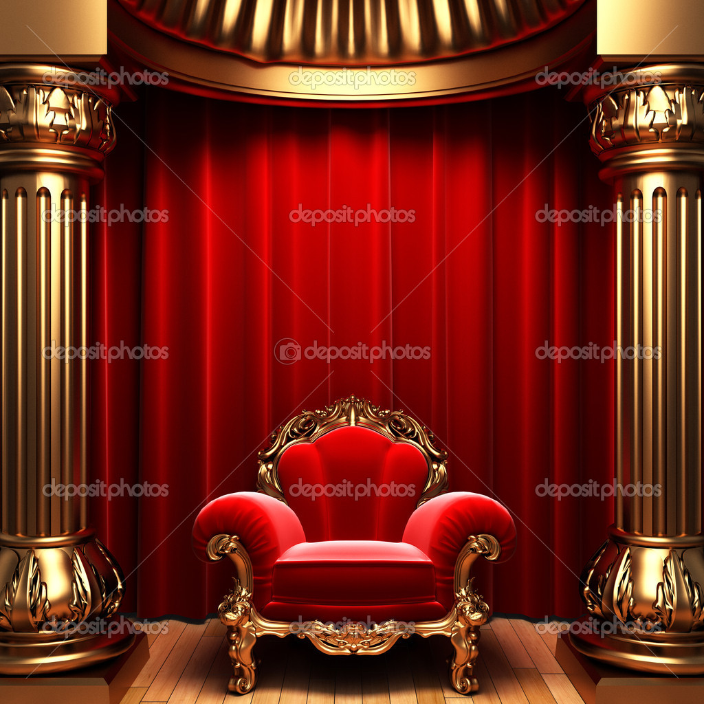 Red velvet curtains, gold columns and chair made in 3d — Zdjęcie stockowe #1623561