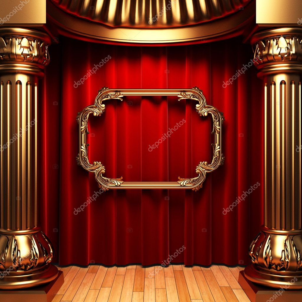 Red curtains, gold columns and frame made in 3d — Stock Photo #1623599