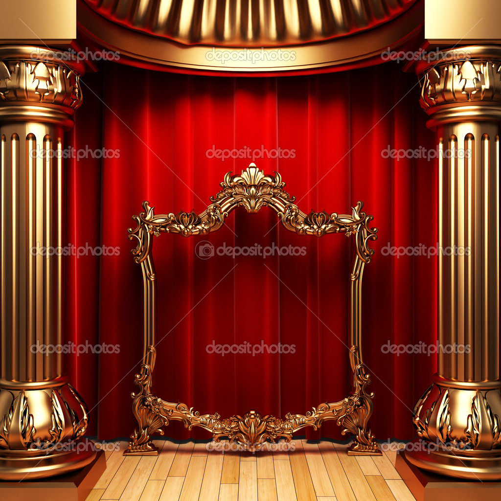 Red curtains, gold columns and frame made in 3d — Stock Photo #1623614
