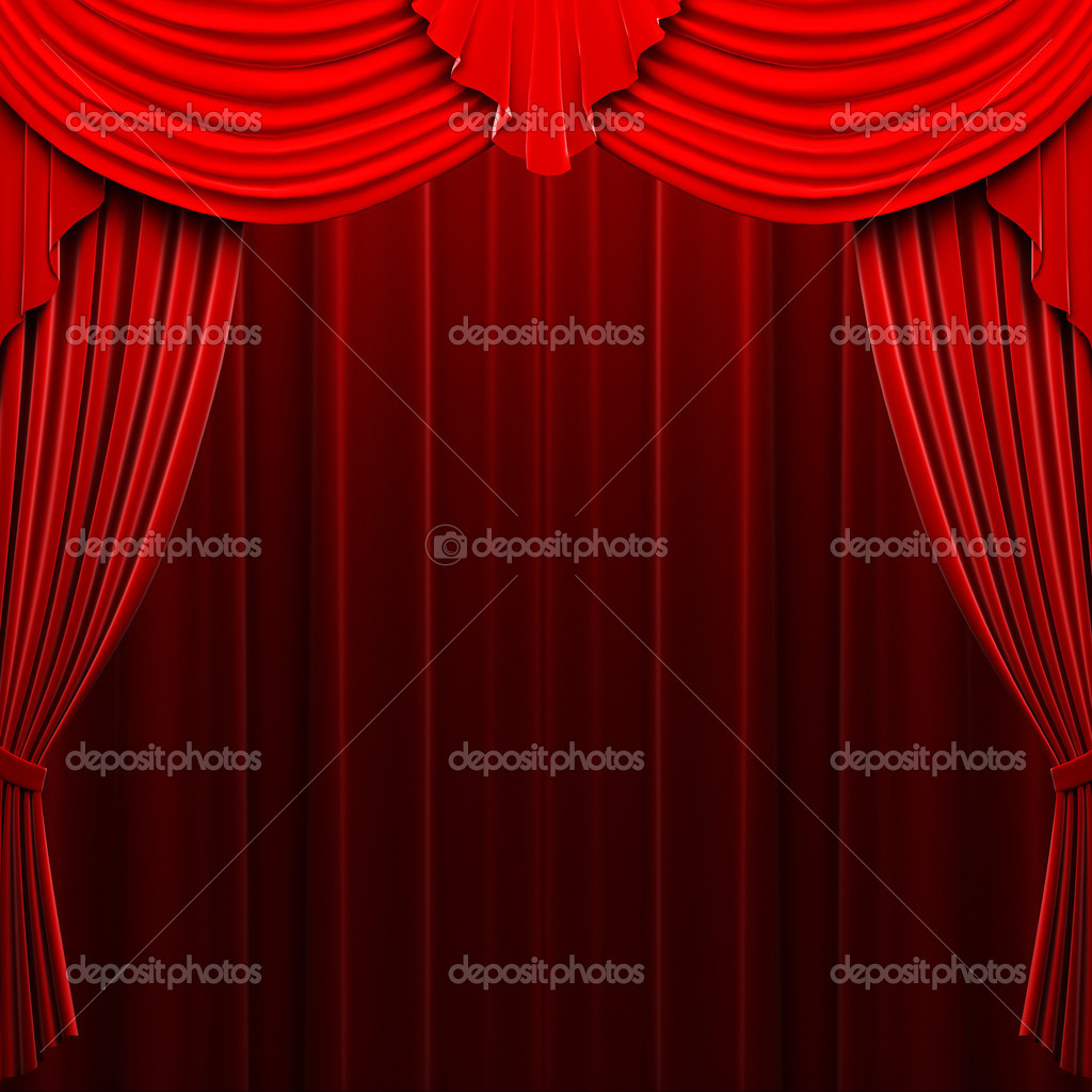 Red velvet curtain opening scene made in 3d  Stock Photo #1623837