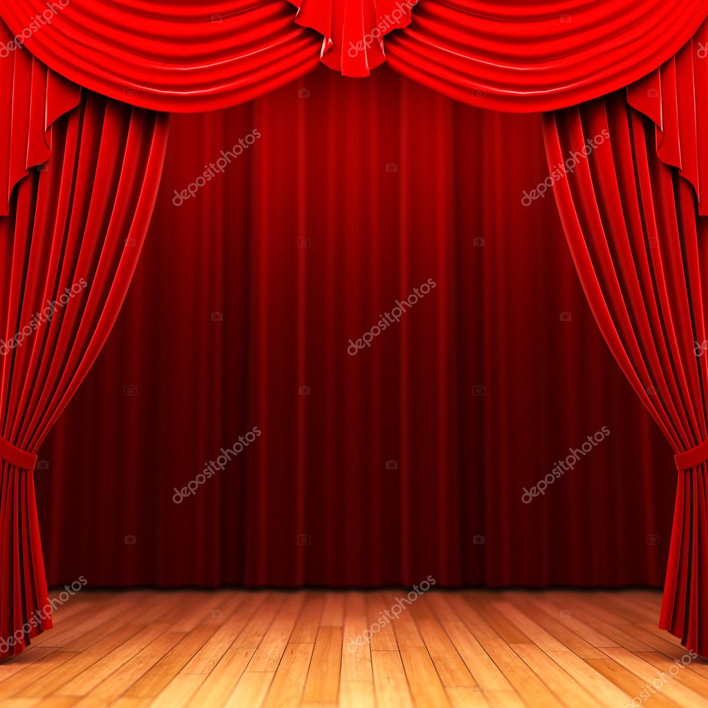 Red velvet curtain opening scene made in 3d  Stock Photo #1623880