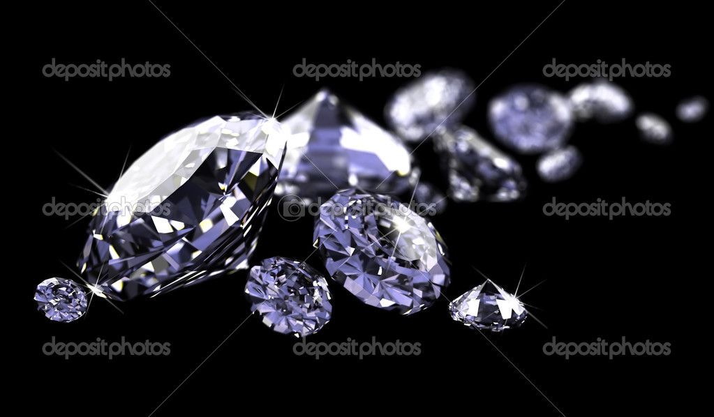 A lot of diamonds, scattering across the black made in 3D — Stock Photo #1624009