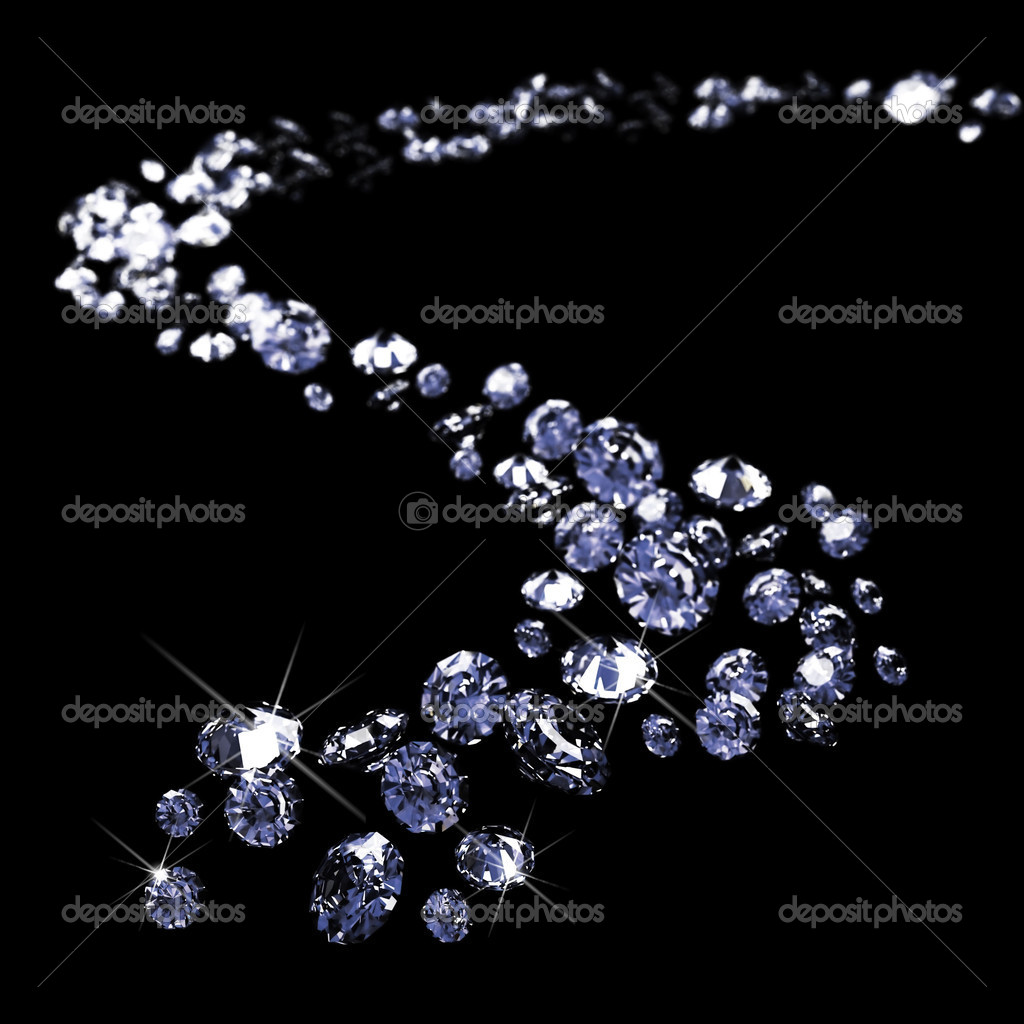 A lot of diamonds, scattering across the black made in 3D  Stock Photo #1624014