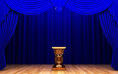 Blue velvet curtain and Pedestal — Stock Photo
