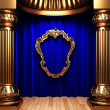 Blue curtains, gold columns and frame — Stock Photo #1685923