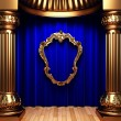 Royalty-Free Stock Photo: Blue curtains, gold columns and frame