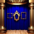 Blue curtains, gold columns and frame - Foto de Stock