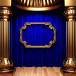Blue curtains, gold columns and frame — Stock Photo #1716526