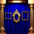 Blue curtains, gold columns and frame — Stock Photo #1716546