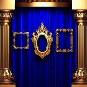 Blue curtains, gold columns and frame — Stock Photo
