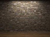 Osvětlené kamenná zeď — Stock fotografie