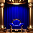 Blue velvet curtains and chair — Stock Photo #1733685