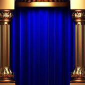 Blue velvet curtains behind the gold — Stock Photo