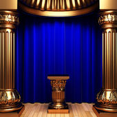 Blue velvet curtains, gold Pedestal — Stock Photo