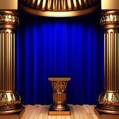 Pedestal de cortinas, oro de terciopelo azul — Foto de Stock