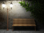 Old concrete wall and bench — Foto de Stock