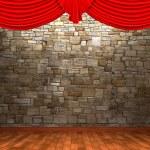 Red velvet curtain opening scene — Stock Photo