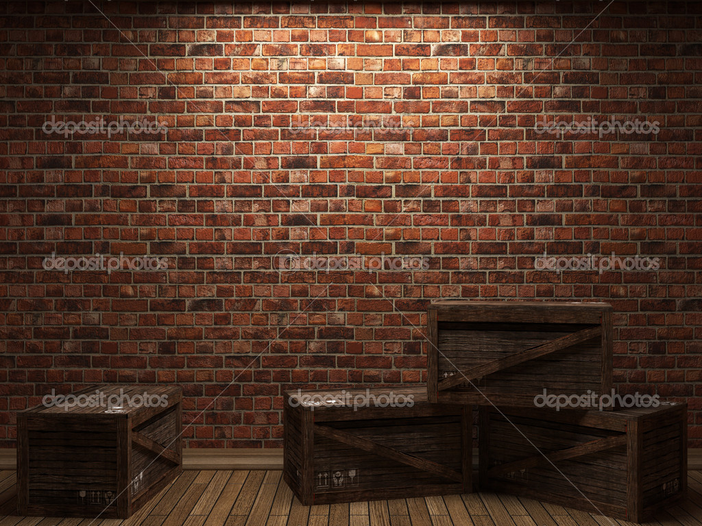 Illuminated brick wall and boxes made in 3D graphics — Foto Stock #2566971