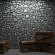 Illuminated stone wall and boxes — Stock Photo #2576125