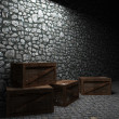 Illuminated stone wall and boxes — Stock Photo