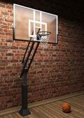 Old brick wall and basketball — Stock Photo