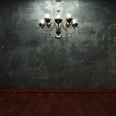 Old concrete wall and chandelier — Foto Stock
