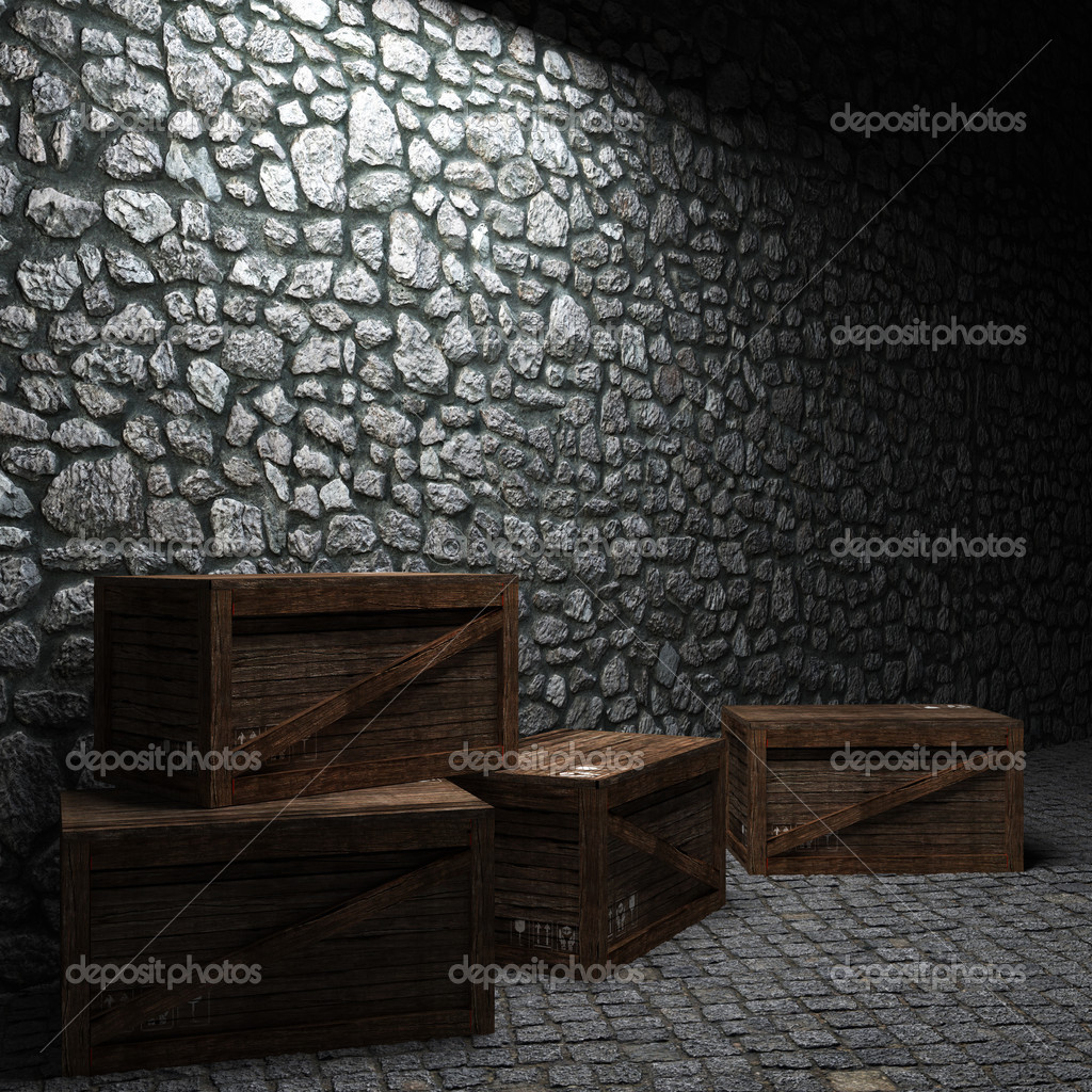 Illuminated stone wall and boxes made in 3D graphics — Stock Photo #2613865