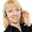 The young woman in headphones — Stock Photo