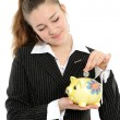 Business woman looking at her savings — Stock Photo #1693169
