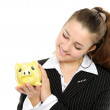 Business woman looking at her savings — Stock Photo #1694154