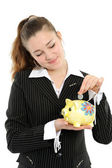 Business woman looking at her savings — Stock Photo