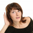 Picture of young woman listening gossip — Stock Photo